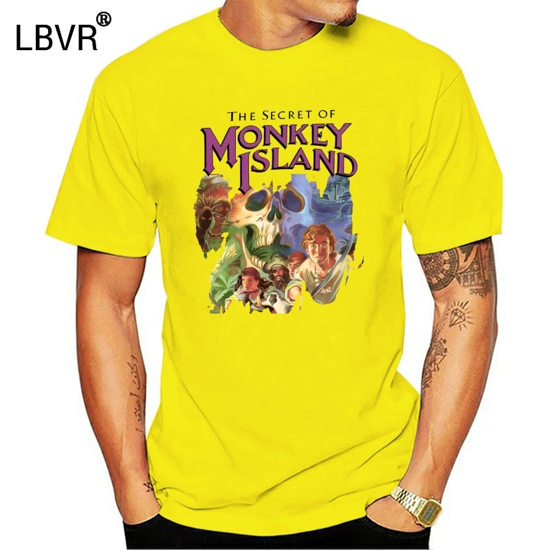 O segredo da ilha do macaco capa original guybrush threepwood videogame men t shirt