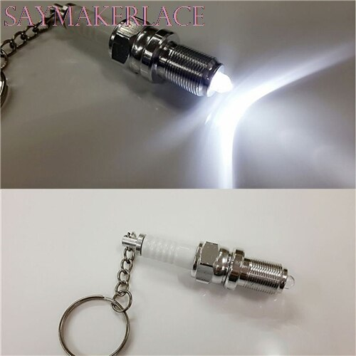 New 1PC Casual LED Key Chain Spark Plug Key Chain Keychain Car Parts Keyring Car Styling Accessories Decoration