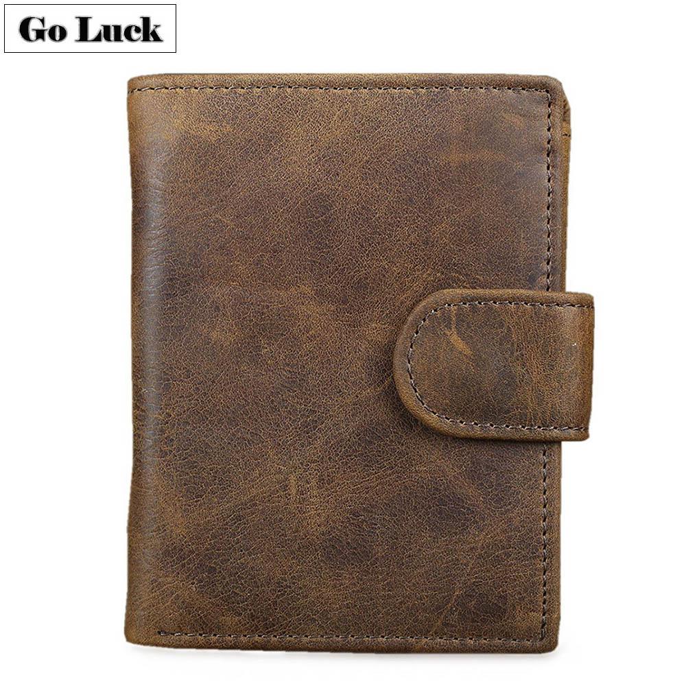 De cuero genuino bolsillo RFID cartera hombres cerrojo de crédito tarjetero ID Cardcase carteras hombre moneda efectivo monedero