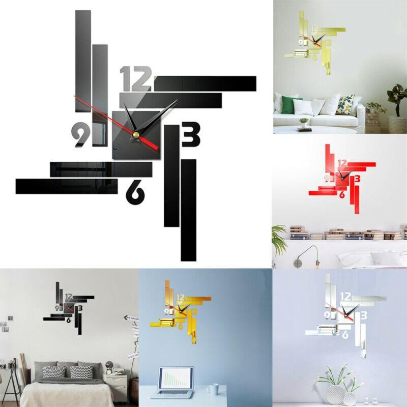 Reloj de pared grande DIY moderno 3D adhesivo para superficie de espejo decoración del hogar reloj gigante de pared con números romanos