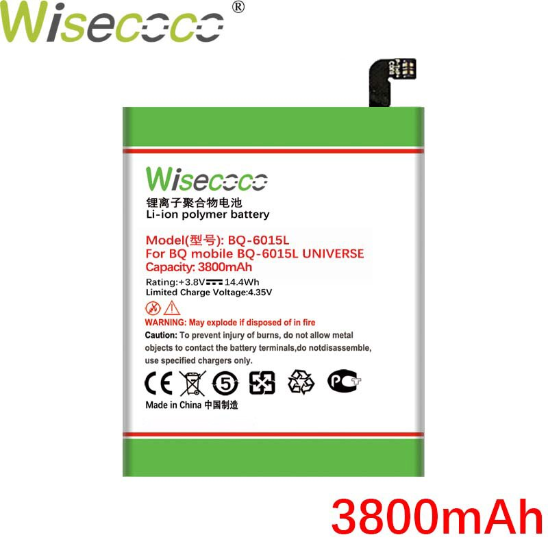 WISECOCO 3800mAh BQ-6015L Battery For BQ BQS 6015L Mobile Phone In Stock High Quality Battery+Tracki