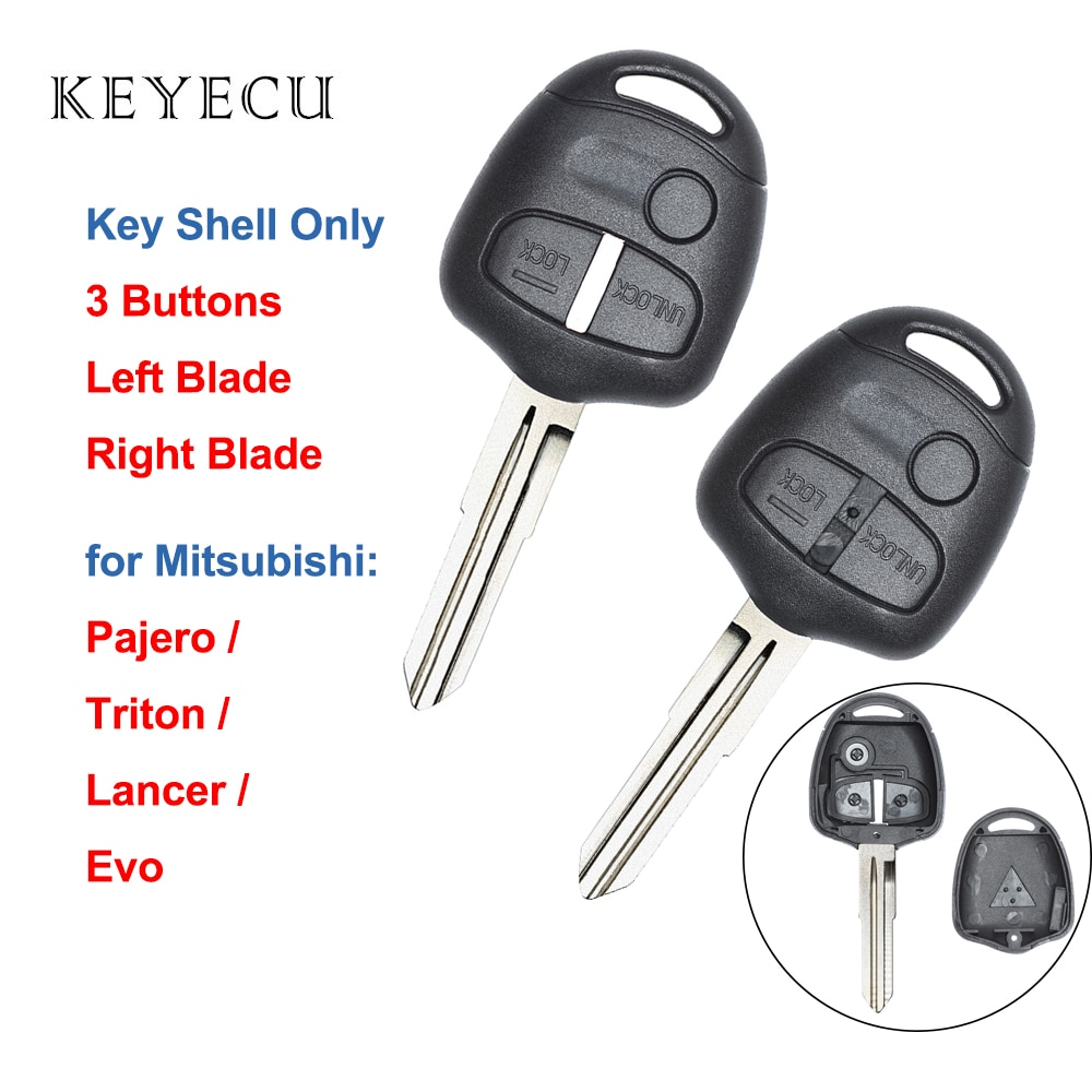 Keyecu Remote Key Shell Case Cover 3 Buttons for Mitsubishi Pajero Lancer Triton Evo with Uncut Left / Right Blade