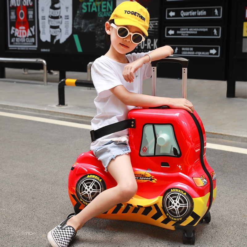 Kids Luggage Ride Car Rolling Travel Trolley Suitcase Children's Case Universal Wheel Suitcase Bus Luggage Case for Riding on