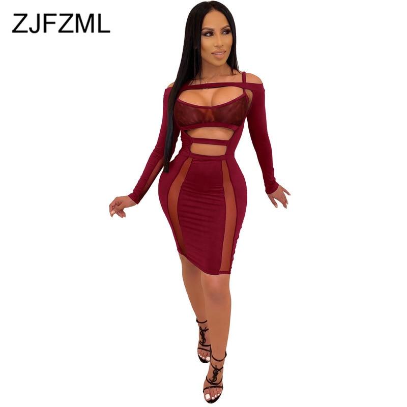 Transparente malla empalme Sexy Club Vestido Mujer manga larga recortado vestido ajustado señoras Slash cuello espalda descubierta vestido Midi Delgado