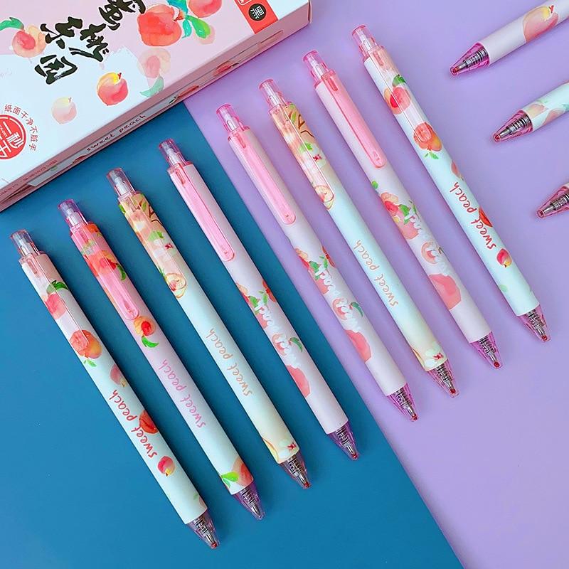 Caneta de gel de imprensa rosa pêssego bala preto recarga 0.5mm secagem rápida assinatura caneta escola escrita papelaria criativo doce bonito novidade