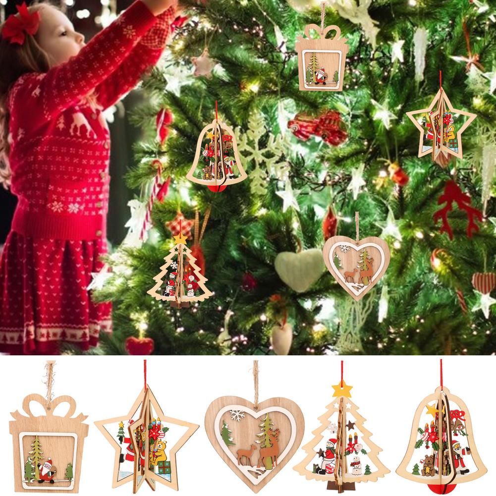 Christmas Ornament Wooden Hanging Pendants Star Xmas Tree Bell Christmas Decorations For Home Kids Gift Wood Crafts