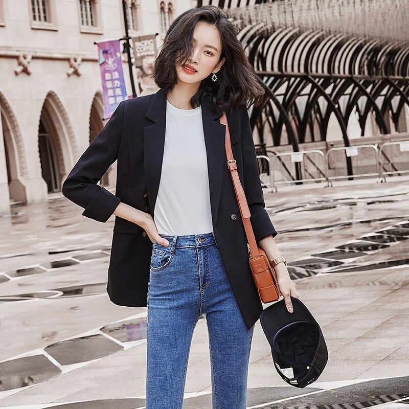 New Fashion Blazer Jacket Women Casual Pockets Long Sleeve Work Suit Coat Office Lady Solid Slim Blazers