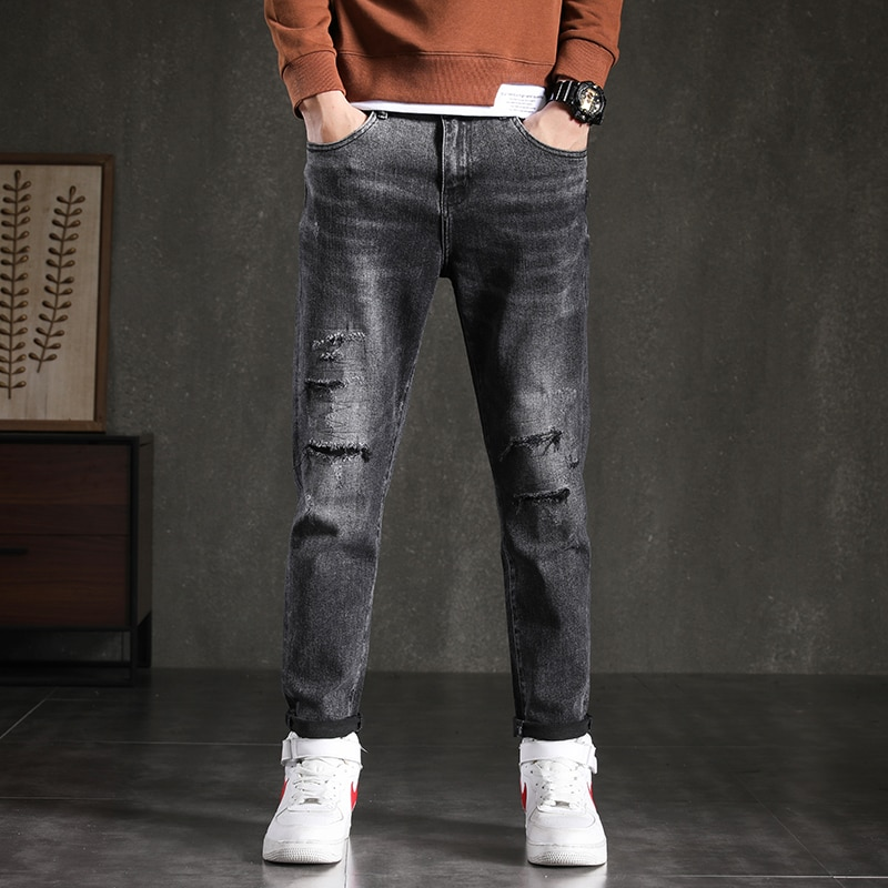 2021 Black Men's Pants Mens Streetwear fashion Autumn/Winter Tattered Korean Go With Anything Leisur