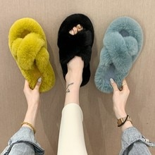 Winter Women Home Cotton Shoes Slippers Furry Warm Faux Fur Fashion Cozy Houes Floor Slip on Flats 2
