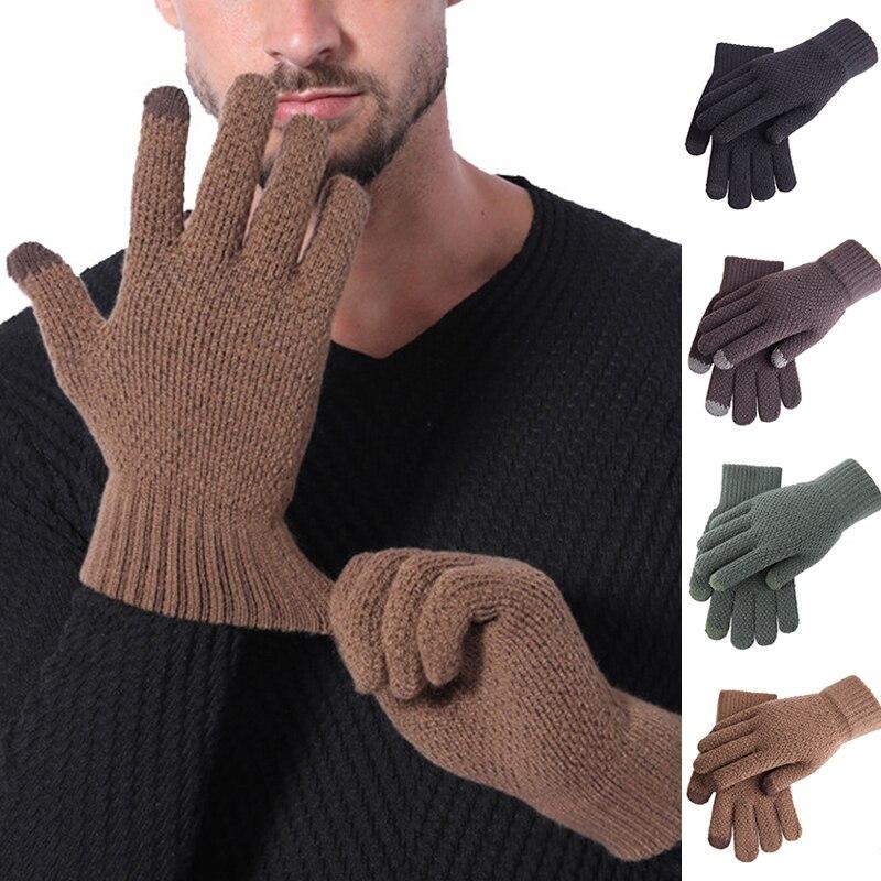 Мужские кашемировые перчатки с подкладкой, трикотажные перчатки для сенсорных экранов, вязаные перчатки, жаккардовые однотонные зимние те...