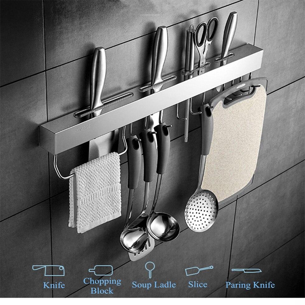 Кухонная полка из нержавеющей стали инструменты держатель для посуды подвесная