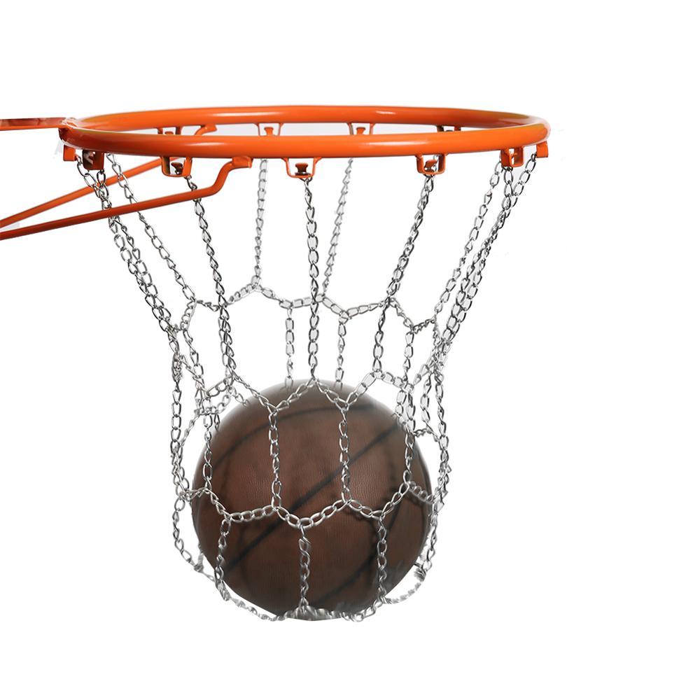 Aro de baloncesto deportivo, malla metálica duradera para exteriores, tablero trasero, malla de cadena de llanta para exteriores, pelota de llanta para ejercicio