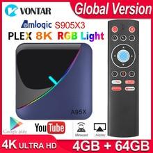 A95x F3 rvb boîte de télévision légère Android 9.0 Max 4GB 64GB Amlogic S905X3 Smart TV Box 4K USB3.0 H.265 Netflix Youtube Plex serveur multimédia