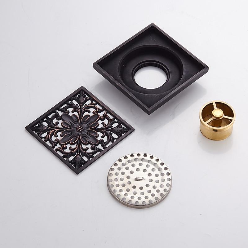 Купить с кэшбэком Floor Drain Black Brass Square Shower Floor Drain Covers Drainer Strainer Sink Linear Floor Waste Grates