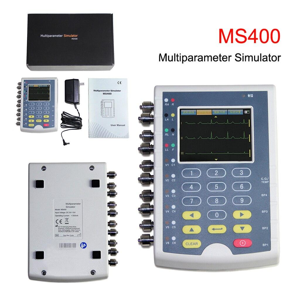 MS400 شاشة تعمل باللمس ECG محاكي 12 يؤدي ECG RESP درجة الحرارة IBP المريض مراقب متعدد المعلمة جهاز محاكاة دروبشيبينغ