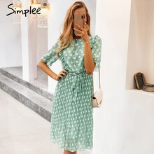 Simplee Elegante Dot Print Vrouwen Summer Dress Korte Mouw Ruches Sash Vrouwelijke Midi Jurk Parel Knoppen A-lijn Dames Groene Jurk