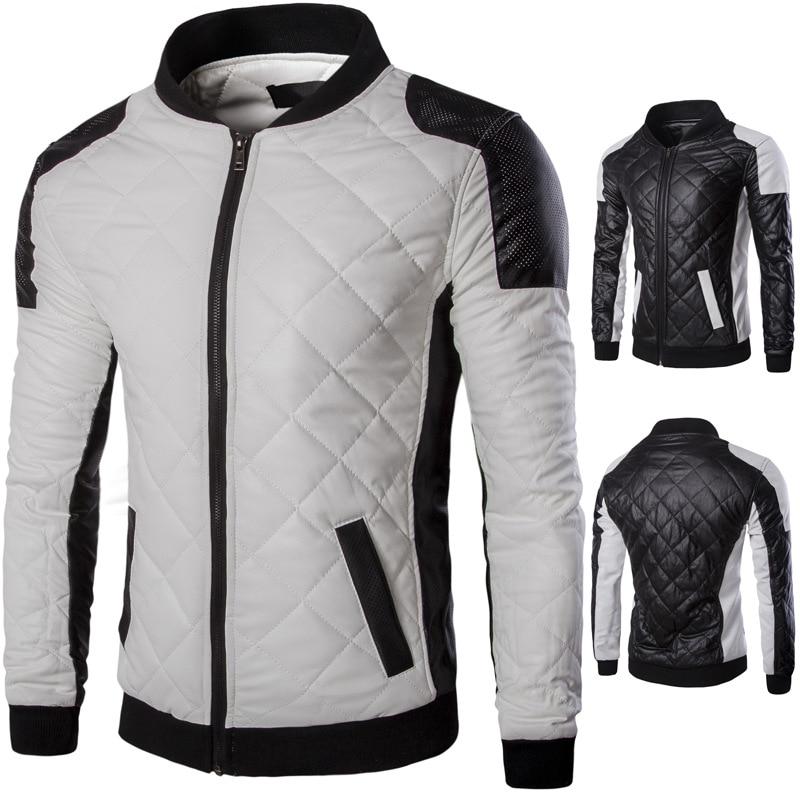 Men's Locomotive Collar Leather Jacket Color Matching Casual Leather Jacket Men Faux Leather  Men Clothes 2020 Motorcycle Jacket color matching striped snap button up jacket