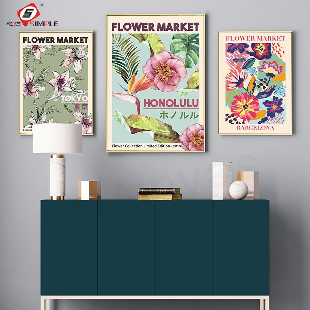Cuadro sobre lienzo para pared del mercado de las flores, pósteres florales...
