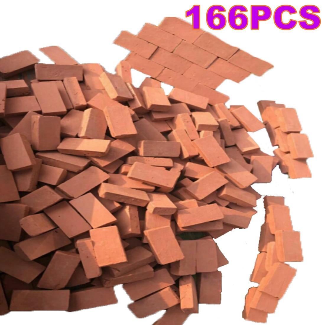 166 pçs/set 116 escala mini tijolos vermelhos modelo antigo micro paisagem tijolos decorativos para diy mesa de areia decoração do edifício