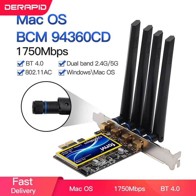 1750Mbps Fenvi T919 PCIe واي فاي بطاقة محول BCM94360CD ل MacOS هاكينتوش بلوتوث 4.0 802.11ac 2.4G/5GHz ثنائي النطاق حاسوب شخصي مكتبي