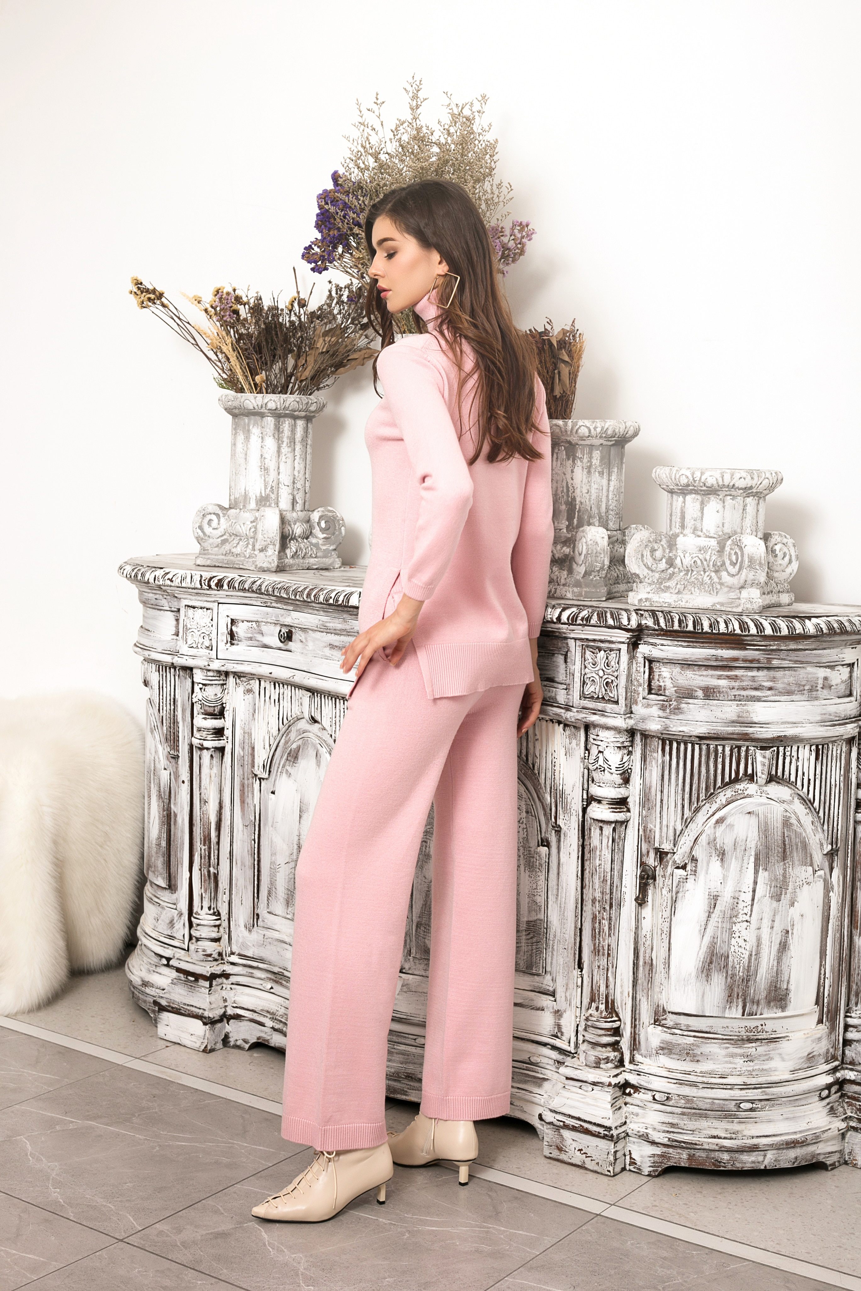 High end fashion high neck wide leg knitted sweater suit Women Sweater Set Ladies Warm Knitted Sets enlarge