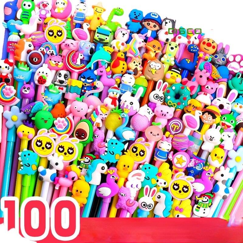 40-100Pcs/Set Kawaii Cartoon0.38/0.5mm Gel PenSet Student Signature Creative Stationery Office School Supplies Gifts kawaii pens
