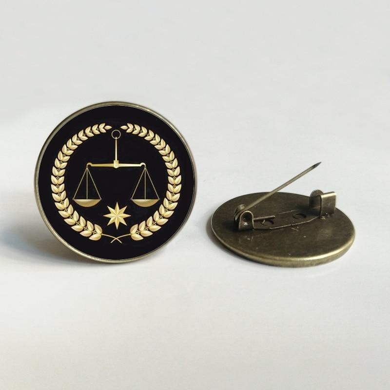 Novo advogado único juiz juiz de justiça broche de vidro delicado brincos equilibrados convexo moda redonda jóias