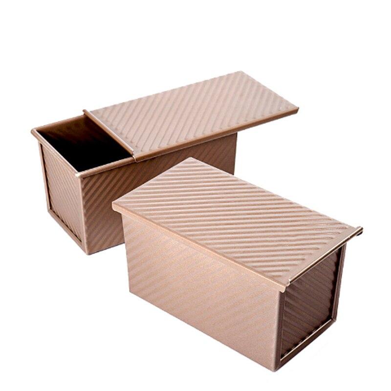 Caja para tostadas recipiente para rebanada de Pan molde para hornear herramienta con tapa de 450g de acero al carbono de doble cara dorado ondulado antiadherente