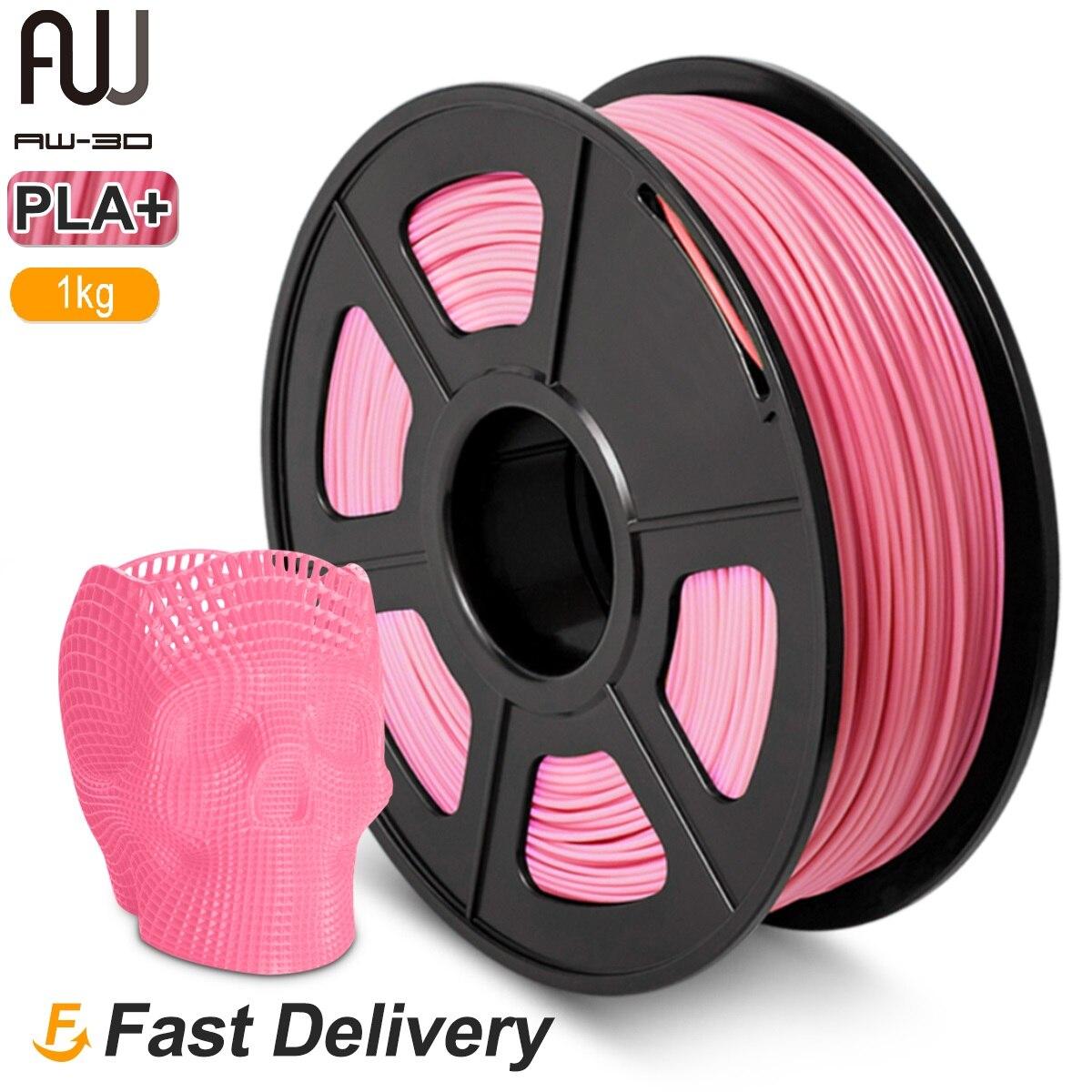 AW 3D PLA Plus-خيوط طابعة ثلاثية الأبعاد ، 1.75 مللي متر ، 1 كجم ، تحمل قطر المواد الاستهلاكية/-0.02 مللي متر مع بكرة غير سامة