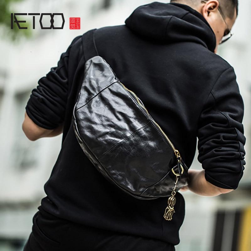 AETOO الرجعية جلد الصدر حقيبة ، الرجال الاتجاه أعلى طبقة جلدية crossbody حقيبة ، الرجال كبيرة قدرة الكتف حقيبة