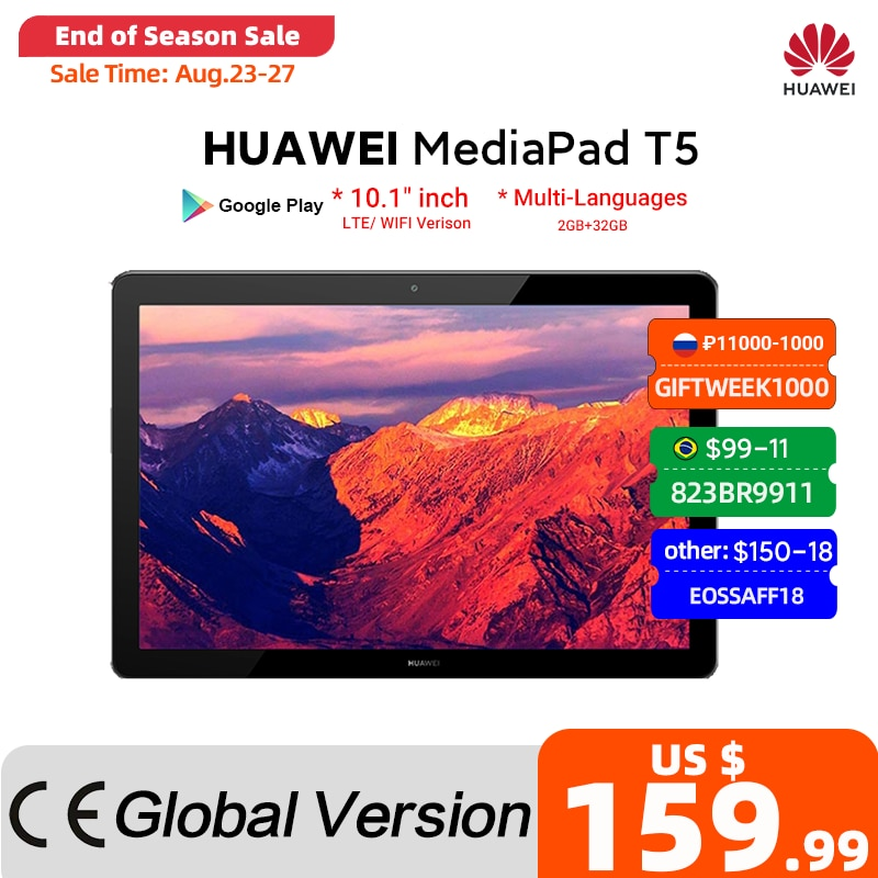 Medi- mediapad t5 tablet pc versão global, 2gb, 32gb, 10.1 polegadas, octa core, alto-falante duplo, 5100 mah, suporta cartão microsd, android 8.0