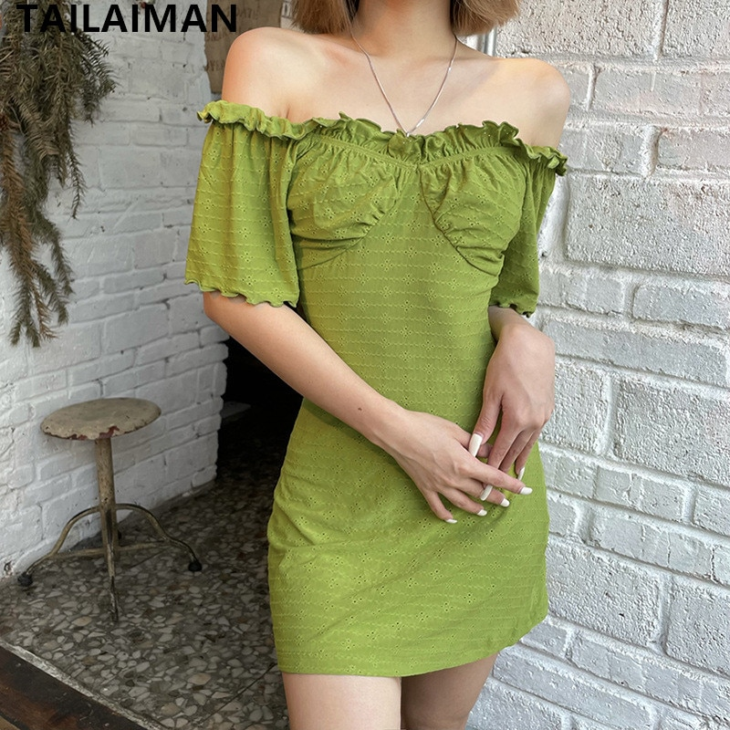 2021 Women's Summer Fashion Casual New Solid Color Street Short-Sleeved Youth Tube Top Halter Sexy Hollow Dress With Wooden Ears