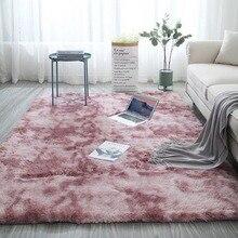 Tapis rose teinture en peluche moderne doux Rectangle tapis moelleux tapis anti-dérapant Shaggy petits tapis chambre Absorption deau tapis