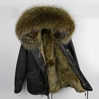 2021 man real fur coat real raccoon fur hooded coat nature rabbit fur lining jackets real fur parka men winter jacket