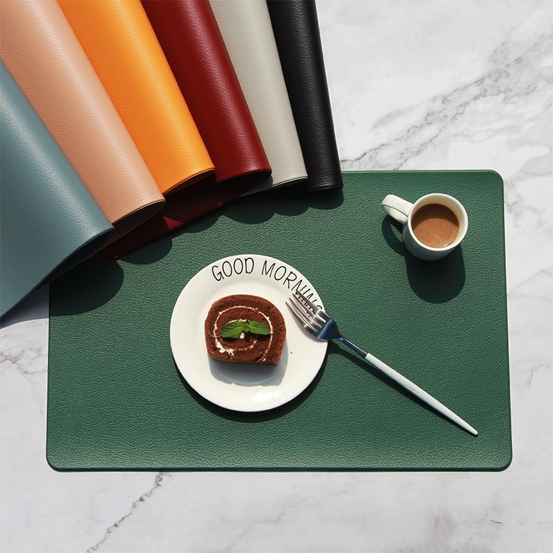aliexpress.com - PU Leather Coaster Placemat for Dining Table Heat insulation Mat Waterproof Rectangle Table Pad Bowl Placemat Kitchen Accessorie