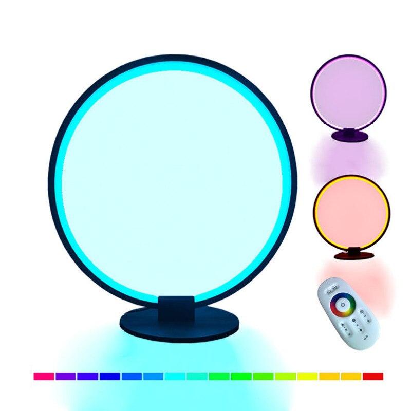 جديد RGB سيمفونية الجدول مصباح غرفة المعيشة غرفة نوم أباجورة LED ملون اللون تغيير التحكم عن بعد يعتم الضوء المحيط