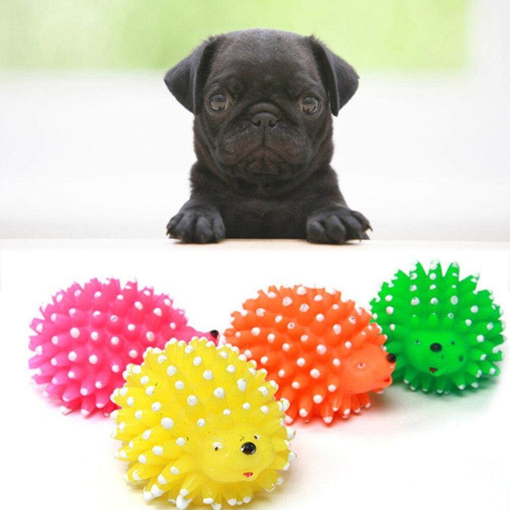1 Uds. Juguete lindo con forma de perro de mascota erizo cachorro chillón masticar Squeaker Ball juguete divertido pequeño espina pelota blanda de goma resistente a mordidas