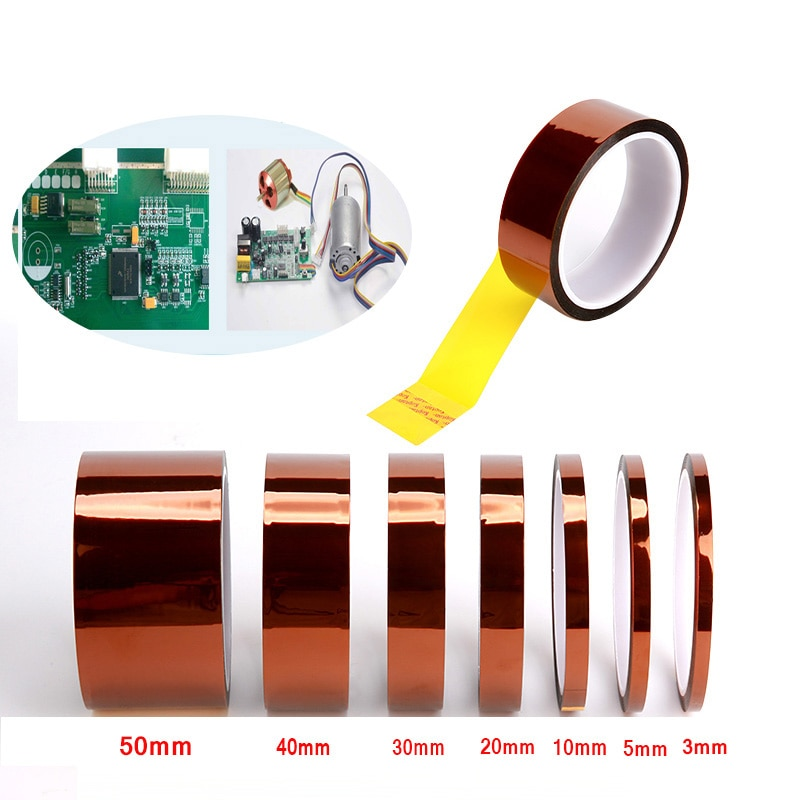 1pcs 33m heat resistant polyimide tape high temperature adhesive insulation tape for bga electronic repair pcb smt Heat Resistant High Temperature High Insulation Electronics industry Welding Polyimide Kapton Adhesive Tape Repair Tool 33M