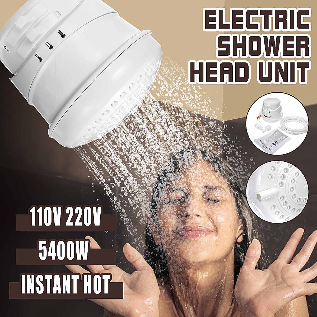 5400W 110V/220V Electric Shower Head Instant Water Heater Adjustable Temperature Bath Shower Heater with 2m Hose Bathroom Heater