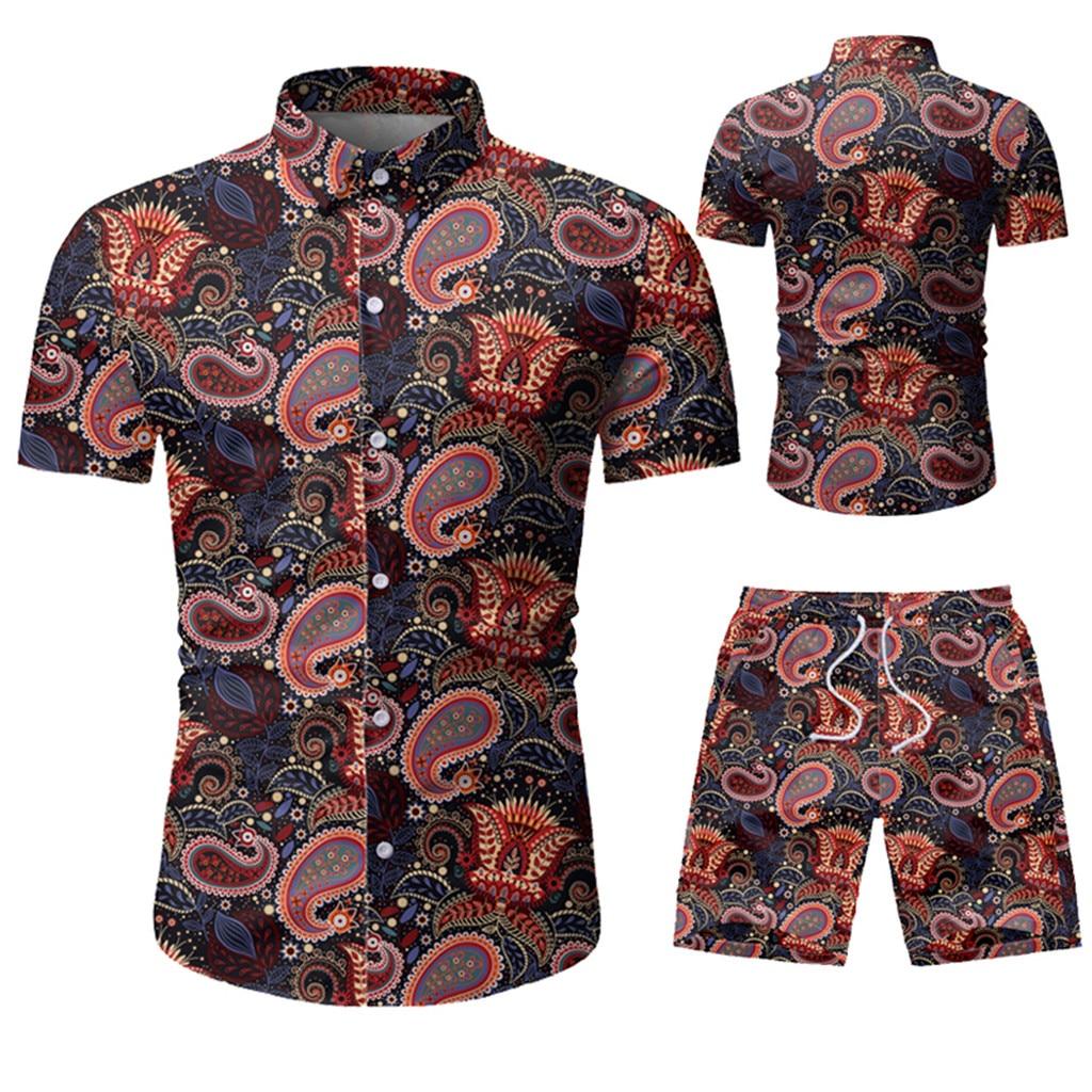 Conjunto de ropa a la moda para hombre, camiseta de flores de verano, camiseta informal ajustada para hombre, camiseta de manga corta, chándal deportivo 5,11