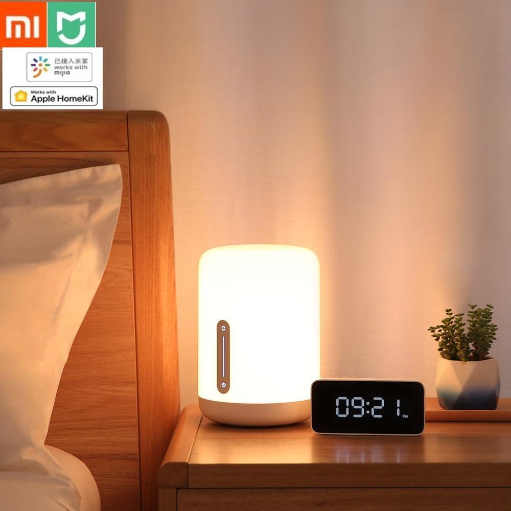 مصباح طاولة Xiaomi MIJIA 2 ، مصباح طاولة LED ذكي مع تحكم لاسلكي وتطبيق Mi home ، إضاءة ليلية لغرفة النوم والمكتب لـ Apple HomeKit Siri