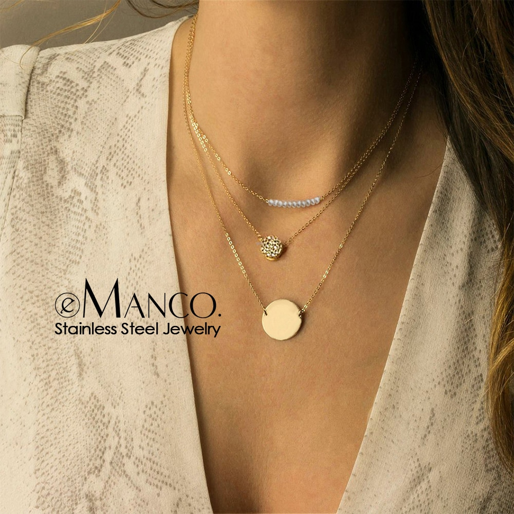 Collar gargantilla de perlas de imitación e-manco para mujer, collar de acero inoxidable para mujer