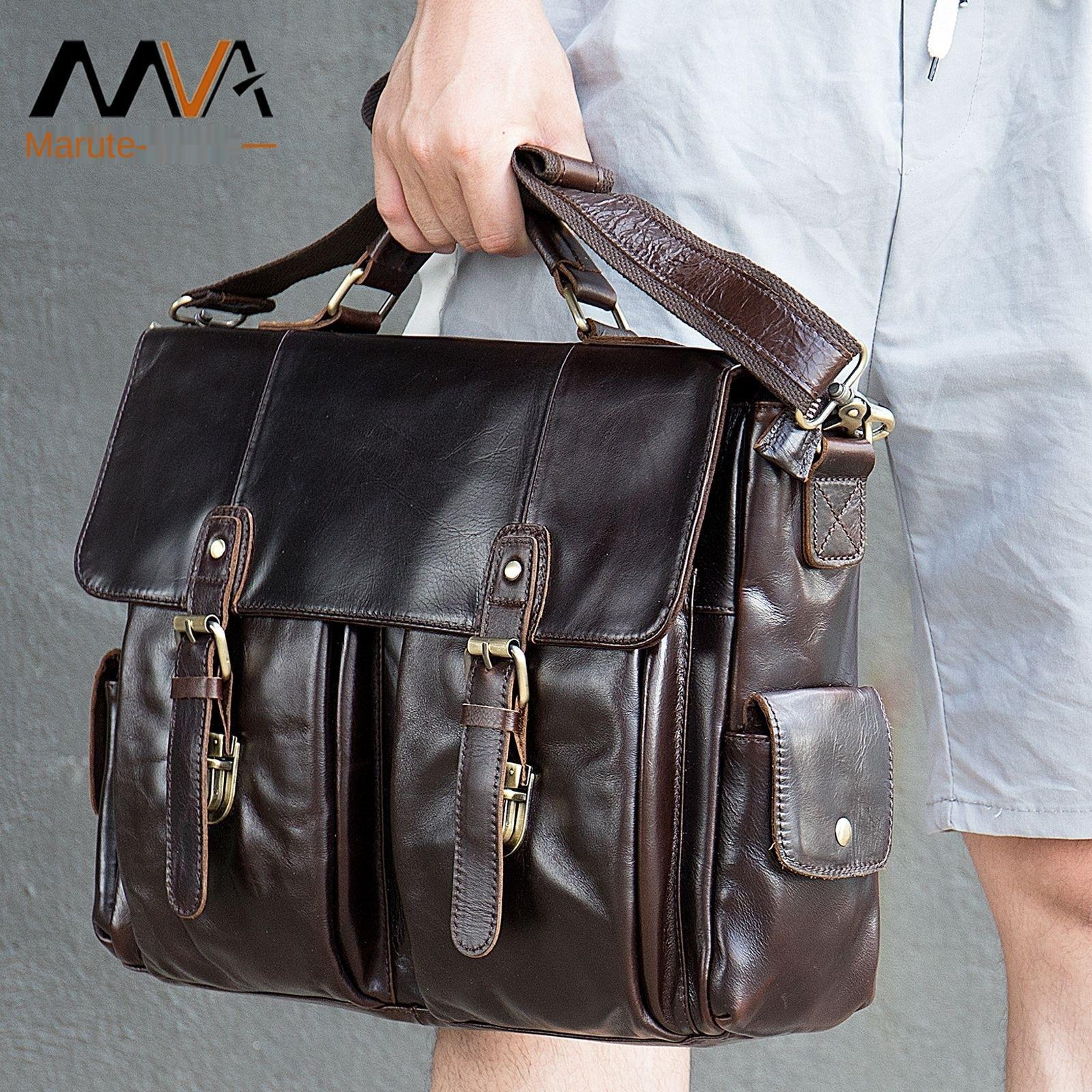 Large men's leather bag handbag fashion men's functional office travel messenger bag men's 14-inch laptop shoulder bag men