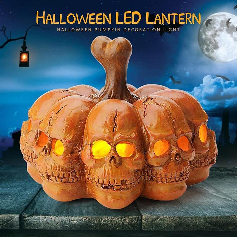 Lámparas de calabaza fantasma multifacetadas, decoración de Halloween, luces LED de calabaza...