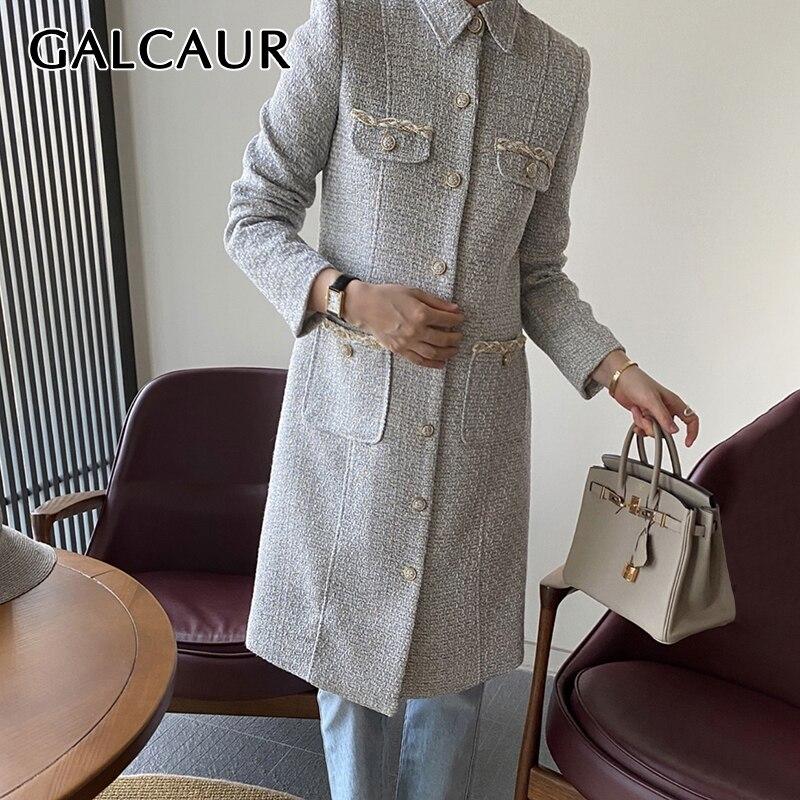 GALCAUR خمر القماش القطني كولوربلوك خندق معطف للنساء التلبيب طوق كم طويل مستقيم معاطف الإناث ملابس عصرية الكورية
