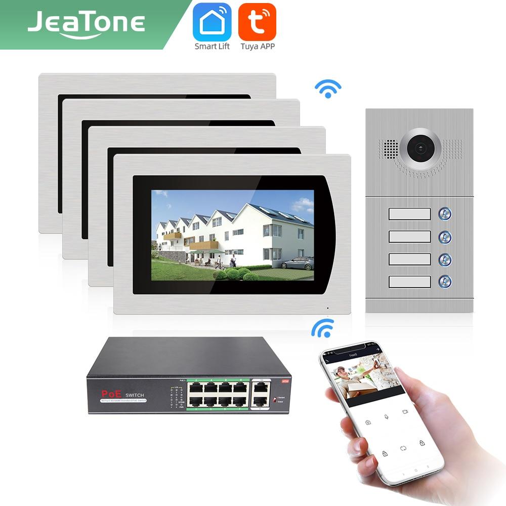 Jeatone-جرس باب لاسلكي ذكي من Tuya ، جرس باب بالفيديو ، wi-fi ، لشقق 4 مستويات ، مع كاميرا باب AHD ، 7 بوصات
