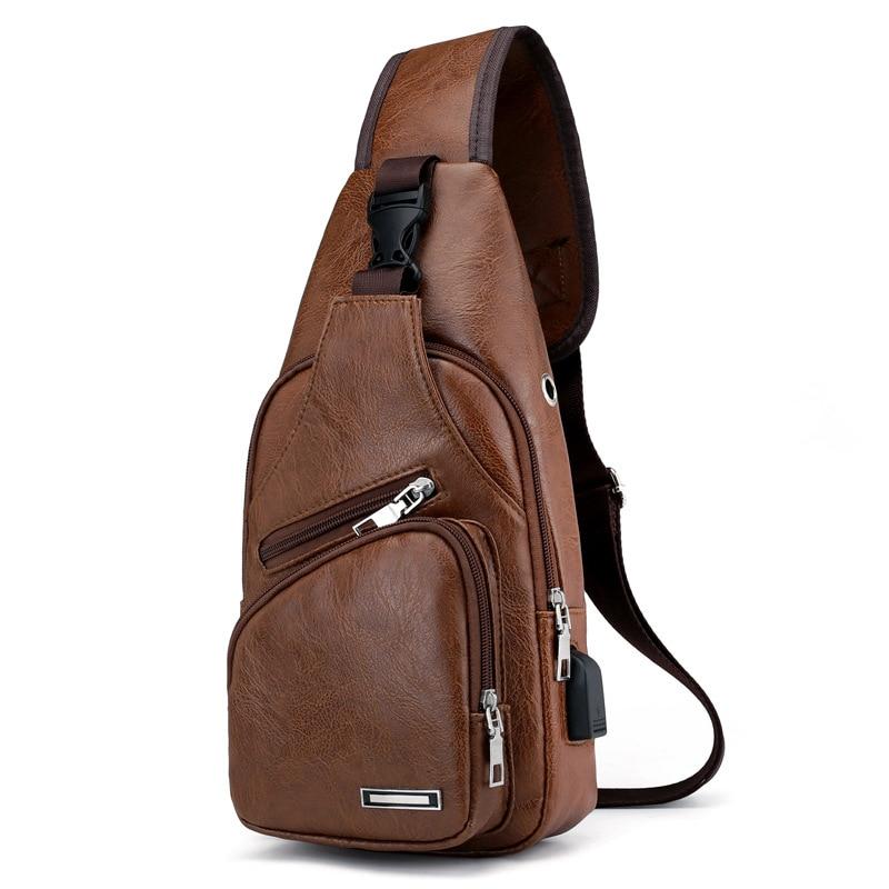 Ljl-mini USB interfaz de un montón de espacio para hombres Casual bolsa de moda al aire libre Sling Bolsa de viaje de día de cuero de PU bolsa de pecho Crossbody