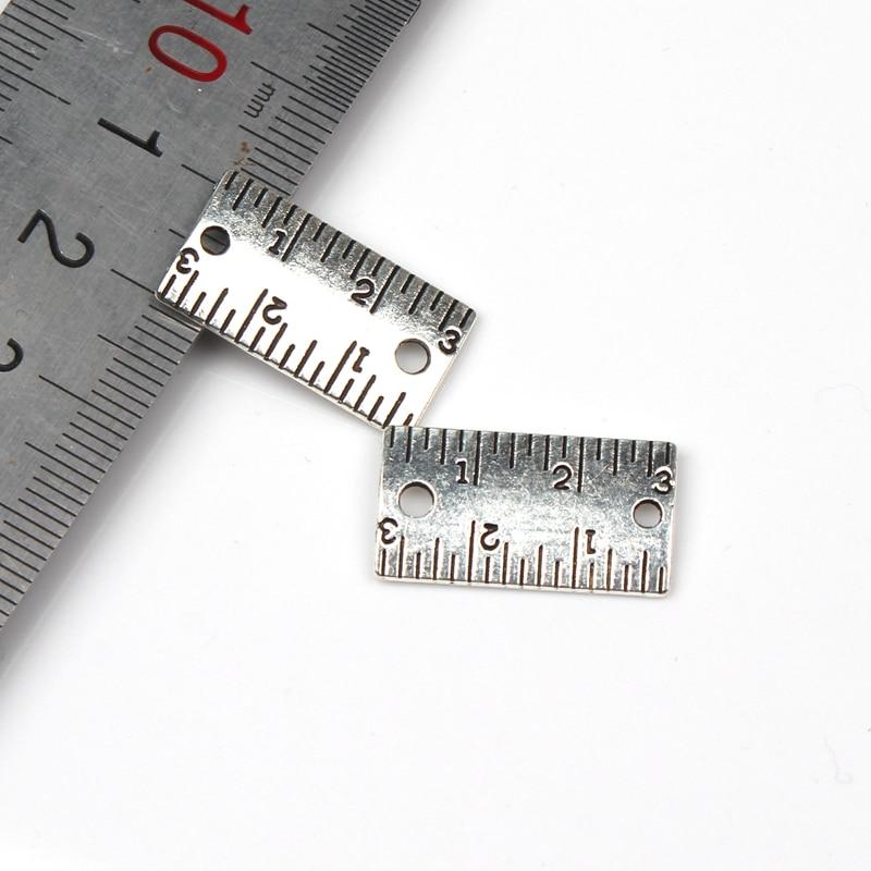 20 pçs encantos ferramentas de medição régua 22*12mm tibetano banhado a prata pingentes antigo jóias fazendo diy artesanal artesanato