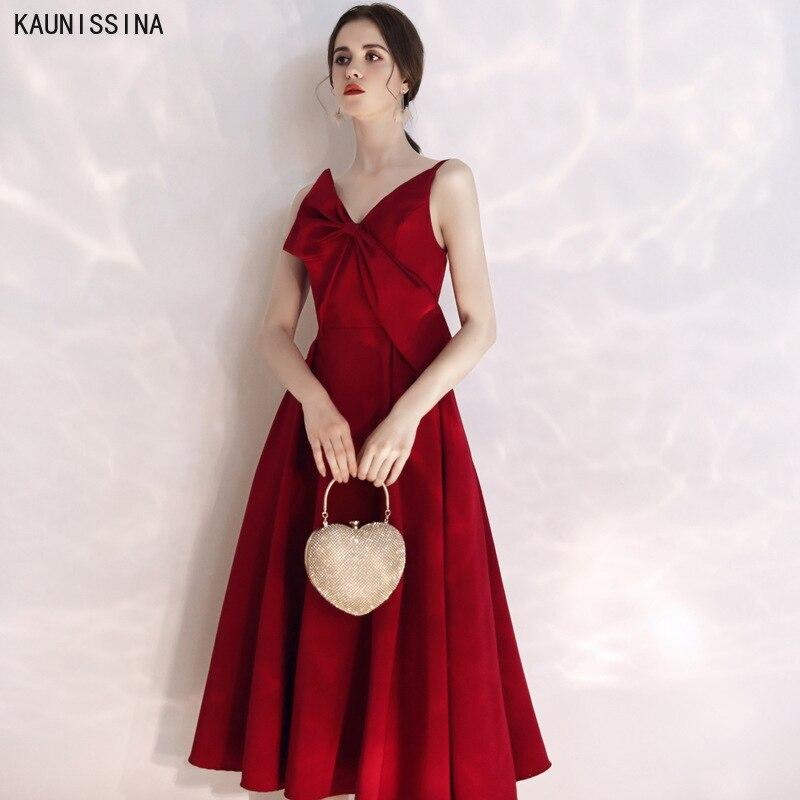 فستان كوكتيل أنيق مع فيونكة على شكل حرف a ، ياقة على شكل v ، أحمر ، نبيذ ، أحزمة سباغيتي ، طول الشاي ، رسن ، فورمالديهايد ، فستان حفلات