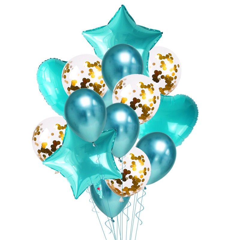 Купить с кэшбэком 14pcs/set Gold Silver Clear Confetti Latex Balloons Set Star Heart Shape Foil Balloon Birthday Party Decoration Kids Xmas Favor